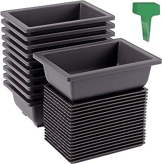 KEILEOHO 40 Packs 6.5 Inches Rectangular Bonsai Training Pots with 40 PCS Plant Labels, Flower Succulent Bonsai Container...