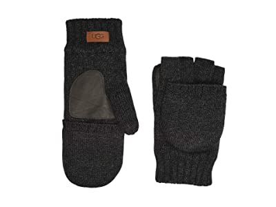 UGG Knit Flip Mitten with Tech Leather Palm and Sherpa Lining (Charcoal) Extreme Cold Weather Gloves