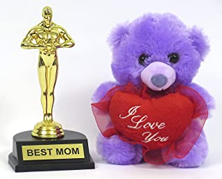 Suncountry168 Mother's Day Super mom Gift Set, Best Mom Award Trophies and I Love You Plush Teddy.