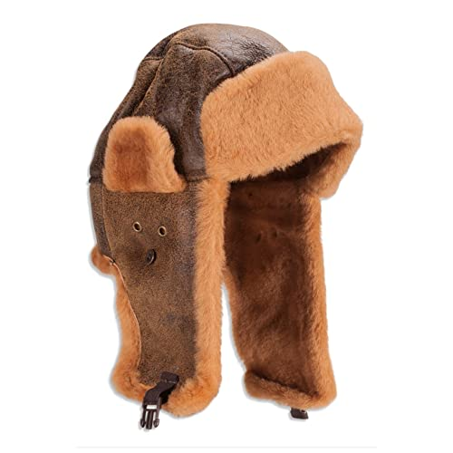 Nordvek Mens Genuine Sheepskin Real Leather Pilot Aviator Flying Hat    515-100 003a788e270c