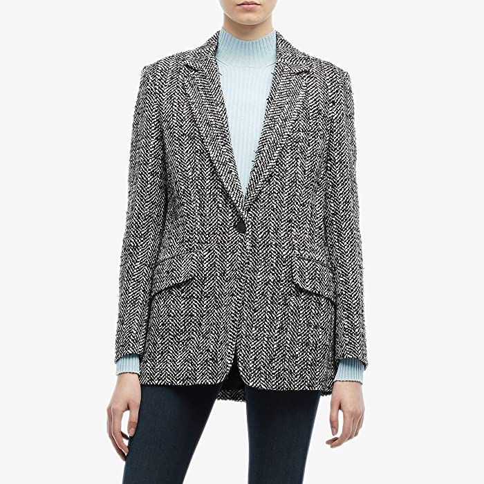 rag and bone  Ames Linton Blazer (Black/White Multi) Womens Clothing