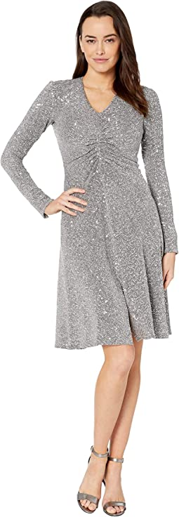 Textured Metallic Stretch Knit Long Sleeve Ruched Side Midi Dress