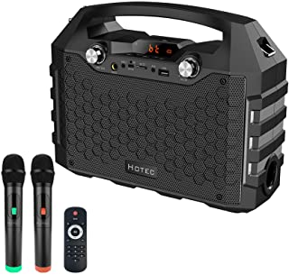 Hotec Wireless Bluetooth Portable PA Speaker System, Powerful Bluetooth Karaoke Machine with Dual Wireless Microphones for...