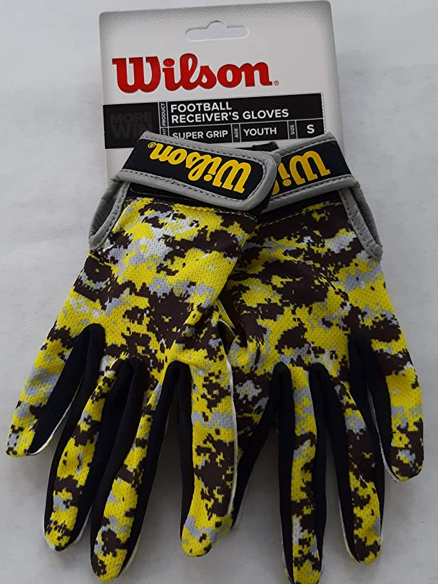 Wilson Super Grip Football Receiver's Gloves in Youth Sizes - Red Camo or Yellow Camo