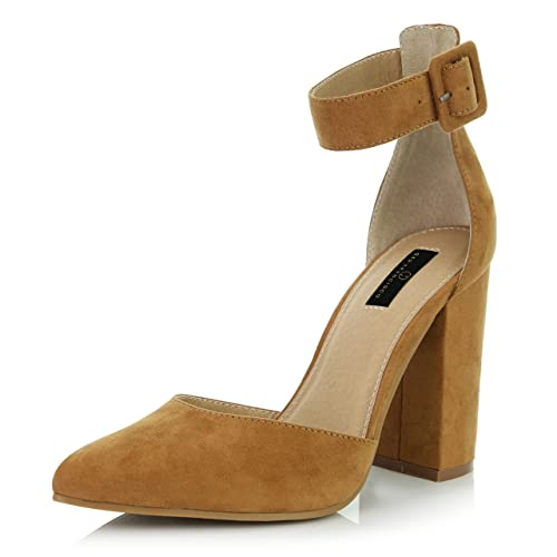 95aad0ee50c051 DailyShoes Women s Fashion Pointed Toe Chunky Ankle Strap Buckle High Heels  Shoes