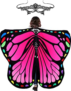 Halloween Fabric Butterfly Wings Shawl Fairy Ladies Cloak with Headband or Mask