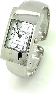 Ladies Small Rectangle Case Metal Bangle Cuff Watch White Dial Eikon