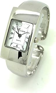 Ladies Small Rectangle Case Metal Bangle Cuff Watch White Dial Eikon