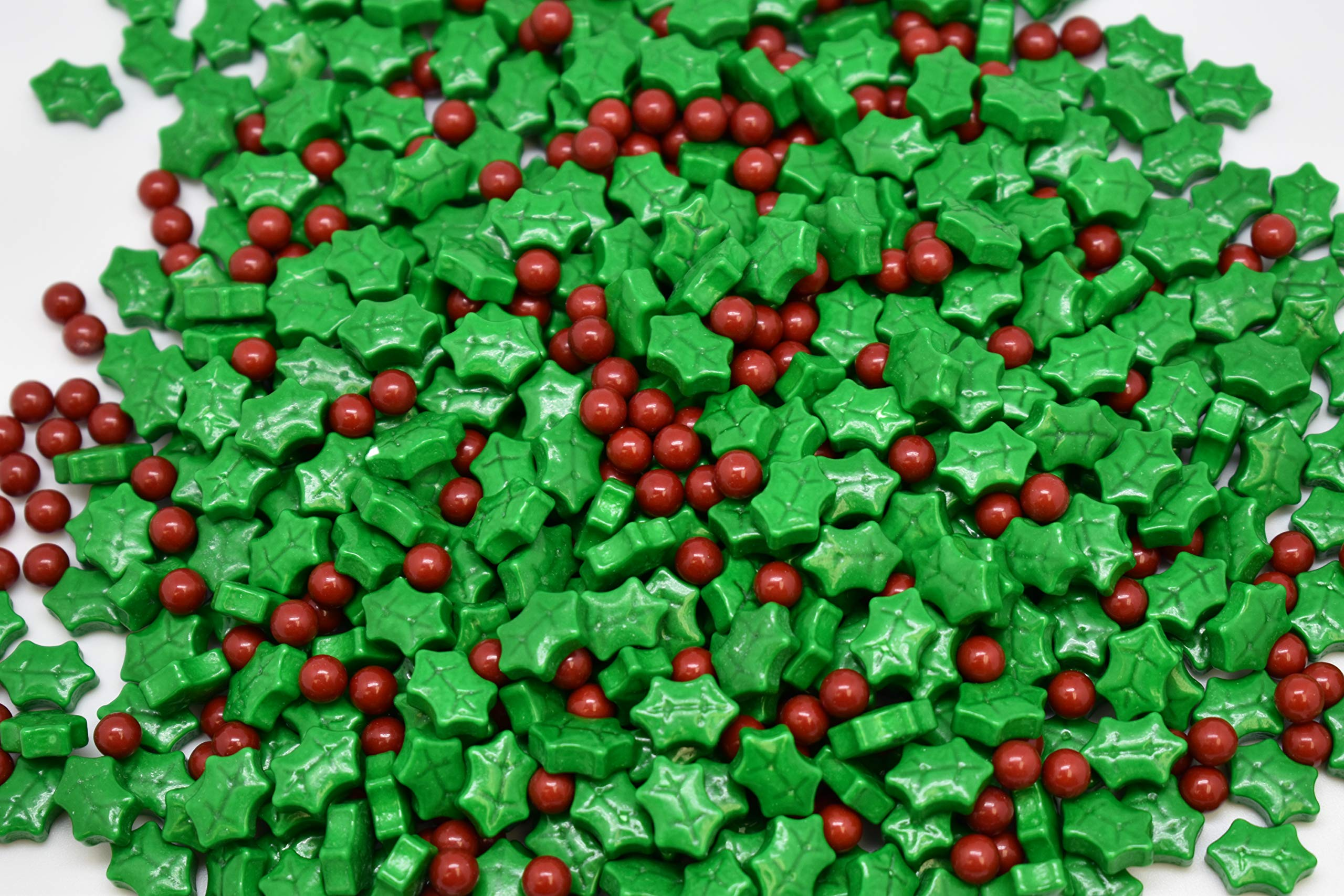 Dextrose Holly Berry Blend Sprinkle Mix - 8 oz Resealable Stand Up Bag - Christmas Themed Red and Green Sprinkles - Holiday Sprinkles for Desserts and Baked Goods