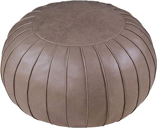 Thgonwid - Puf otomano de piel sintética sin relleno, hecho a mano, 58,4 x 35,5 cm, cojín de suelo redondo para sala ...