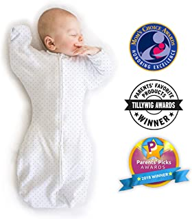 SwaddleDesigns Transitional Swaddle Sack with Arms Up, Classic Polka Dot, Sterling, Medium, 3-6mo, 14-21 lbs (Parents' Picks Award Winner)
