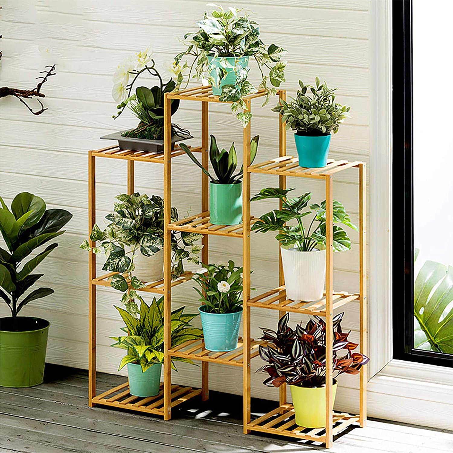 4 Tier 9 Potted Plant Stand Bamboo Flower Hold Rack Same day shipping Multiple Pot Direct sale of manufacturer