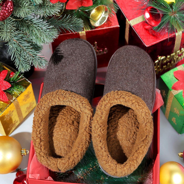 Greatonu Mens Cozy Memory Foam Slippers Fuzzy Wool-Like Plush Fleece Lined House Shoes Indoor Outdoor Anti-Skid Rubber Sole