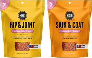 BIXBI Skin & Coat Salmon Jerky Dog Treats, 5 Ounces, and Hip & Joint Salmon Jerky Dog Treats, 5 Ounces