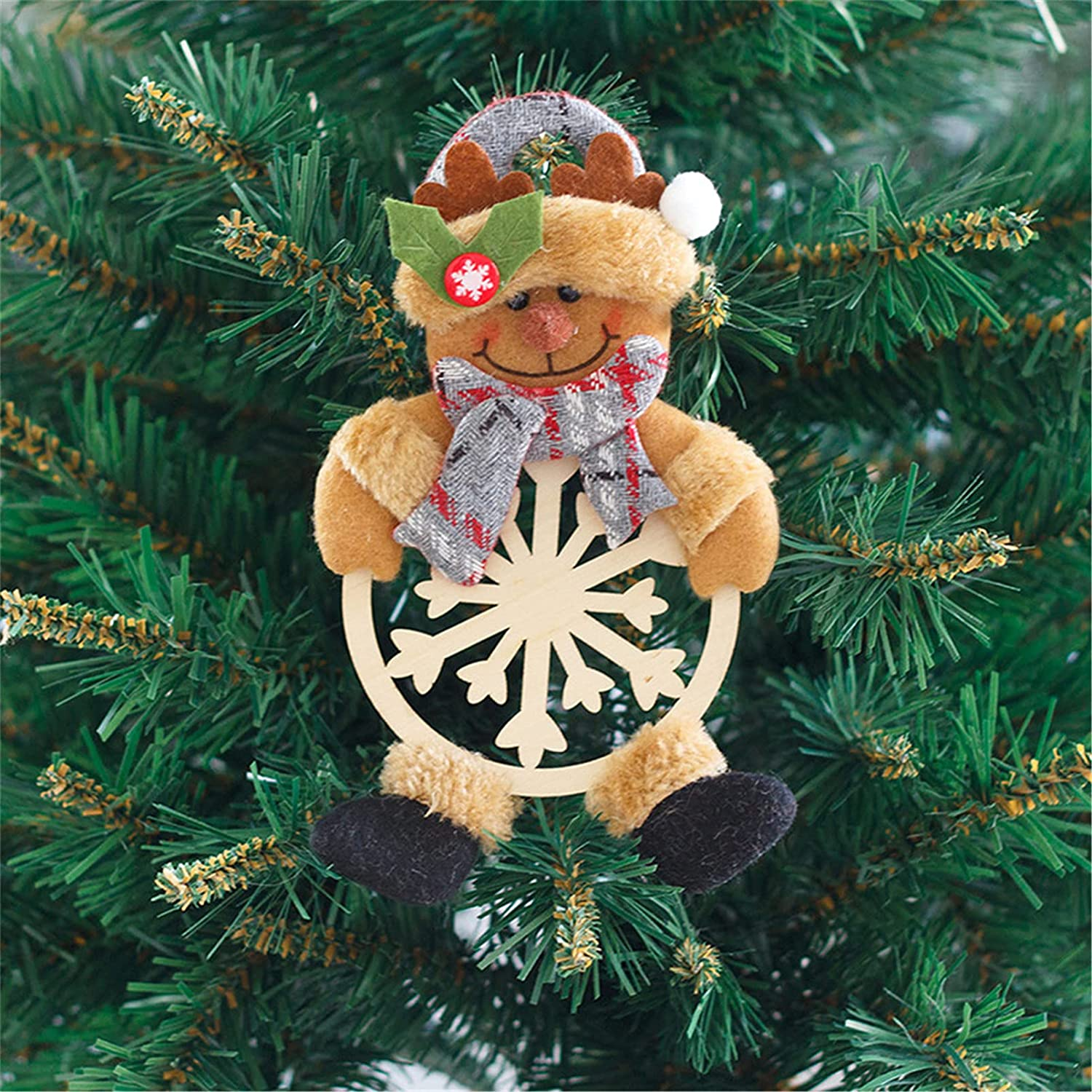 ZRSYH Christmas safety Tree Decorations Choice Wooden Pendant Openwork Snowfla