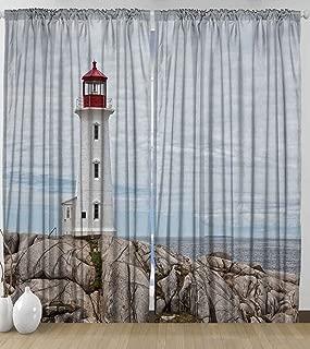 Ambesonne Sea Life Curtains, Lighthouse On Rocks Blue Sky Historical Marine Maritime Canada Ocean Red Tower Aged Landmark for Bedroom Living Room Curtain 2 Panels Set, 108