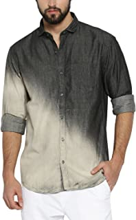 Campus Sutra Men's Tie-Dye Regular Fit Casual Shirt (AZ18SHRT_S2C_M_PLN_BLCR_AZ_M)