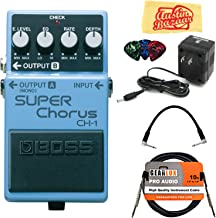 Boss CH-1 Super Chorus Bundle with Power Supply, Instrument Cable, Patch Cable, Picks, and Austin Bazaar Polishing Cloth