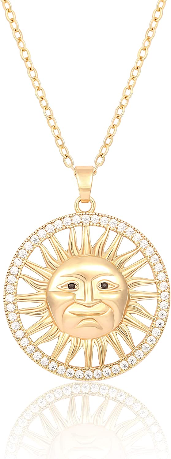 Hammered Karma Open Circle Sun Pendant Necklace Long Satellite Beaded Chain 18K Gold Plated Jewelry for Women