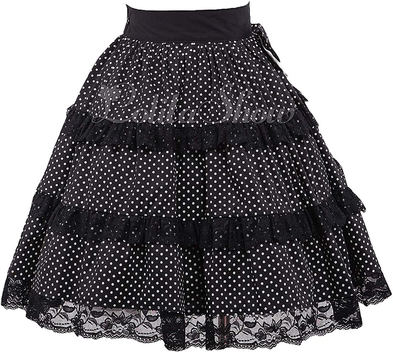Antaina Black Lace Bow Floral Layered Sweet Chiffon Cotton Lolita Bottom Skirt