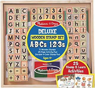 Melissa and Doug Deluxe Wooden Stamp Set - ABCs 123s (Arts and Crafts, 4-Color Inkpad, 70+ Pieces)