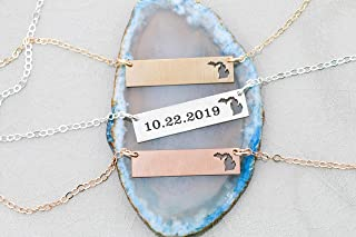 Michigan BAR Necklace - IBD - Personalize Name Coordinates - 935 Sterling Silver 14K Rose Gold Filled Layering Charm - Laser Engraved