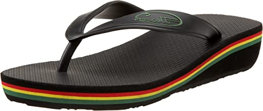 Scott Hawaii Women's Rasta Olu Flip-Flop Wedge | Reggae Pin Stripe | Rainbow Sandals | Layered Midsole