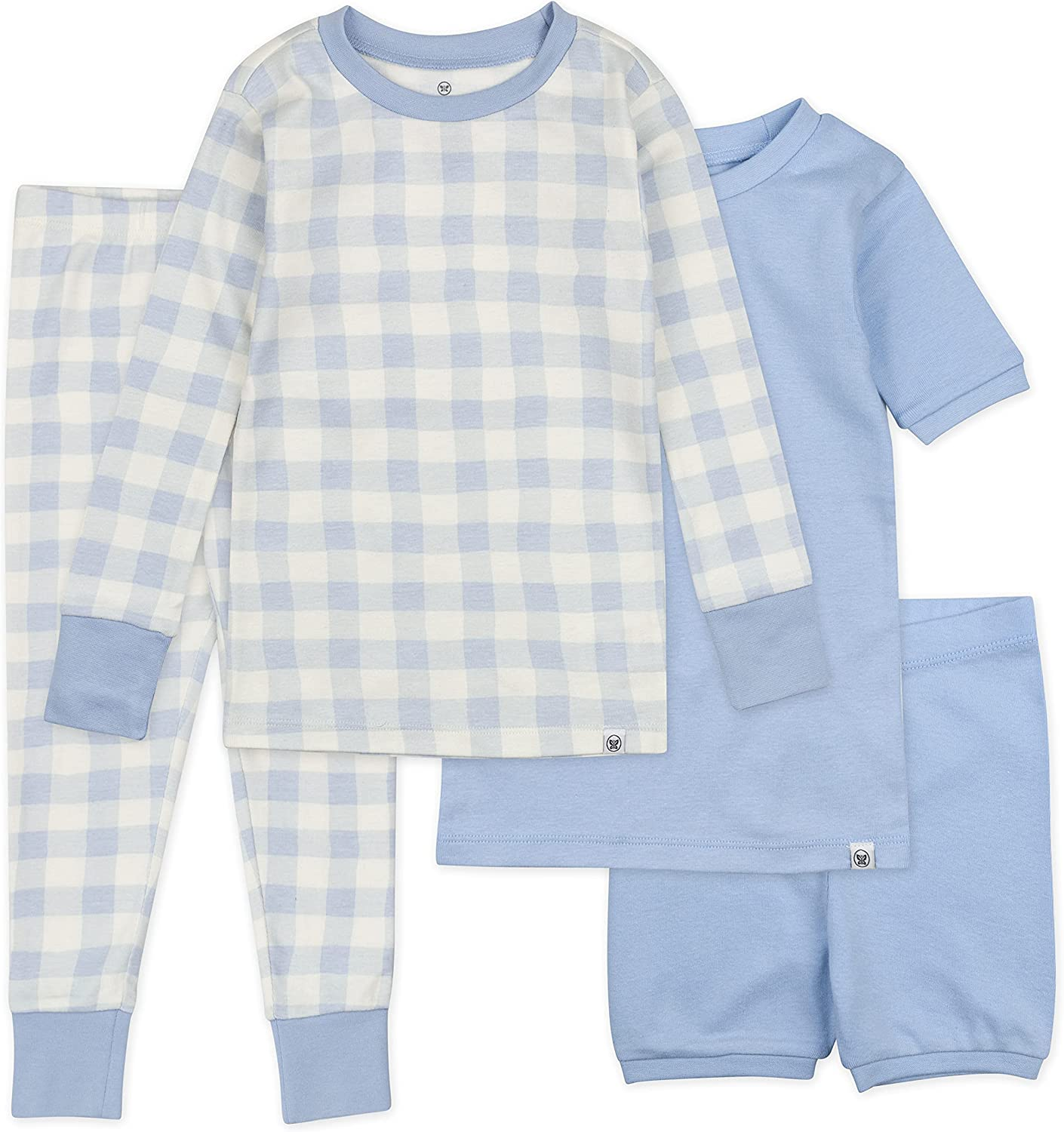 HonestBaby Baby 4-Piece Organic Cotton Short and Long PJ Set, Blue Painted Buffalo Check, 24 Months