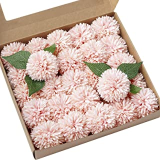 Ling's moment Dusty Pink Artificial Teddy Bear Sunflower Pack of 25 Ball Dahlia Silk Chrysanthemum Pompom Ball Hydrangea Flower with Stem for Home Garden Table Centerpieces Decor