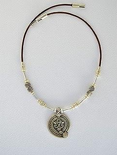 Collana celtica in pelle e zama con ciondolo per donna, Gioielli da regalo