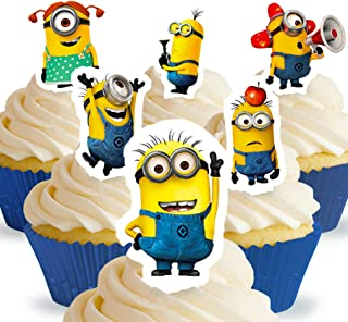 Cakeshop 12 x PRE-CUT Despicable Me Minions Stand Up Edible Cake Toppers