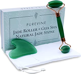 Jade Roller for Face and Gua Sha Scraping Tool Kit with Carry Pouch - Natural Stone Anti Aging Beauty Facial Massage Set - Beautiful Skin Detox Helps Reduce Wrinkles, Puffy Eyes, Fine Lines
