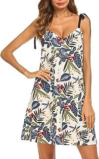 Funpor Women's Sleeveless V Neck Halter Floral Printed Mini Dress