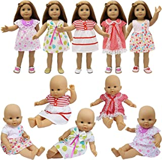 ZITA ELEMENT 5 Pcs Fashion Cute Dresses for 14 Inch to 16 Inch Baby Doll Clothes Dress, American Doll 18 Inch Girl Doll Clothes Outfits Xmas Gift
