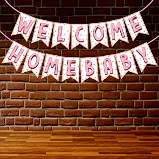 Wobbox Baby Shower Bunting Banner Glossy Pink Font Welcome Baby, Welcome Banner for Decoration, Baby Shower Banner for Dec...