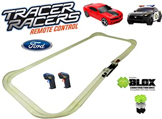 Tracer Racers R/C High Speed Remote Control Police Stunt Speedway Officially Licensed Ford Mustang vs Chevy Camaro Glow Track Set