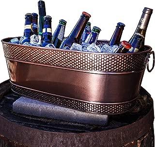 BREKX Colt Copper Finish Galvanized Hammered Beverage Tub - 17 Quart