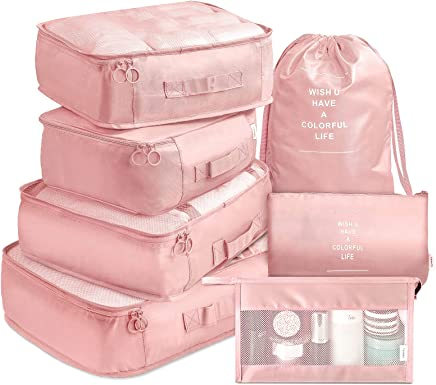 Packing Cubes 7 Pcs Travel Luggage Packing Organizers Set with Toiletry Bag (Pink)