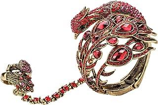 Szxc Jewelry Women's Crystal Big Peacock Bracelet Slave Stretch Ring Set