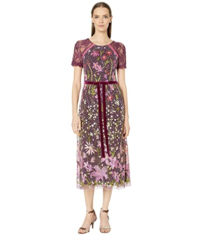 Marchesa Notte Short Sleeve Embroidered Guipure Cocktail Dress w/ Velvet Ribbon Waist Trim (Wine) Women