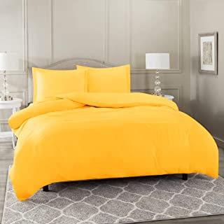 Nestl Bedding Duvet Cover 3 Piece Set – Ultra Soft Double Brushed Microfiber Hotel Collection – Comforter Cover with Button Closure and 2 Pillow Shams, Yellow - Full (Double) 80