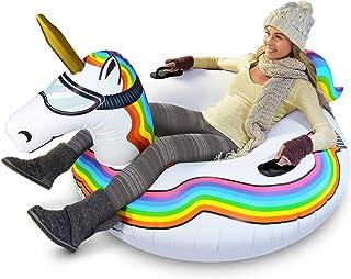 GoFloats Winter Snow Tube - سورتمه بادی برای کودکان و بزرگسالان (از تک شاخ، یخ اژدها، خرس قطبی، پنگوئن، فلامینگو را انتخاب کنید)