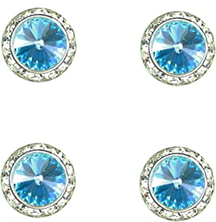 Horse jewelry magnetic contestant show number pins swarovski light turquoise crystal set of 4
