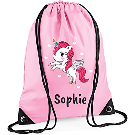 Personalised*PE*Gym*Dance*baby nappy*gift drawstring bag *jungle animals pink