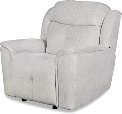Benjara Fabric Upholstered Wooden Reclining Chair with Tufted Design, Gray