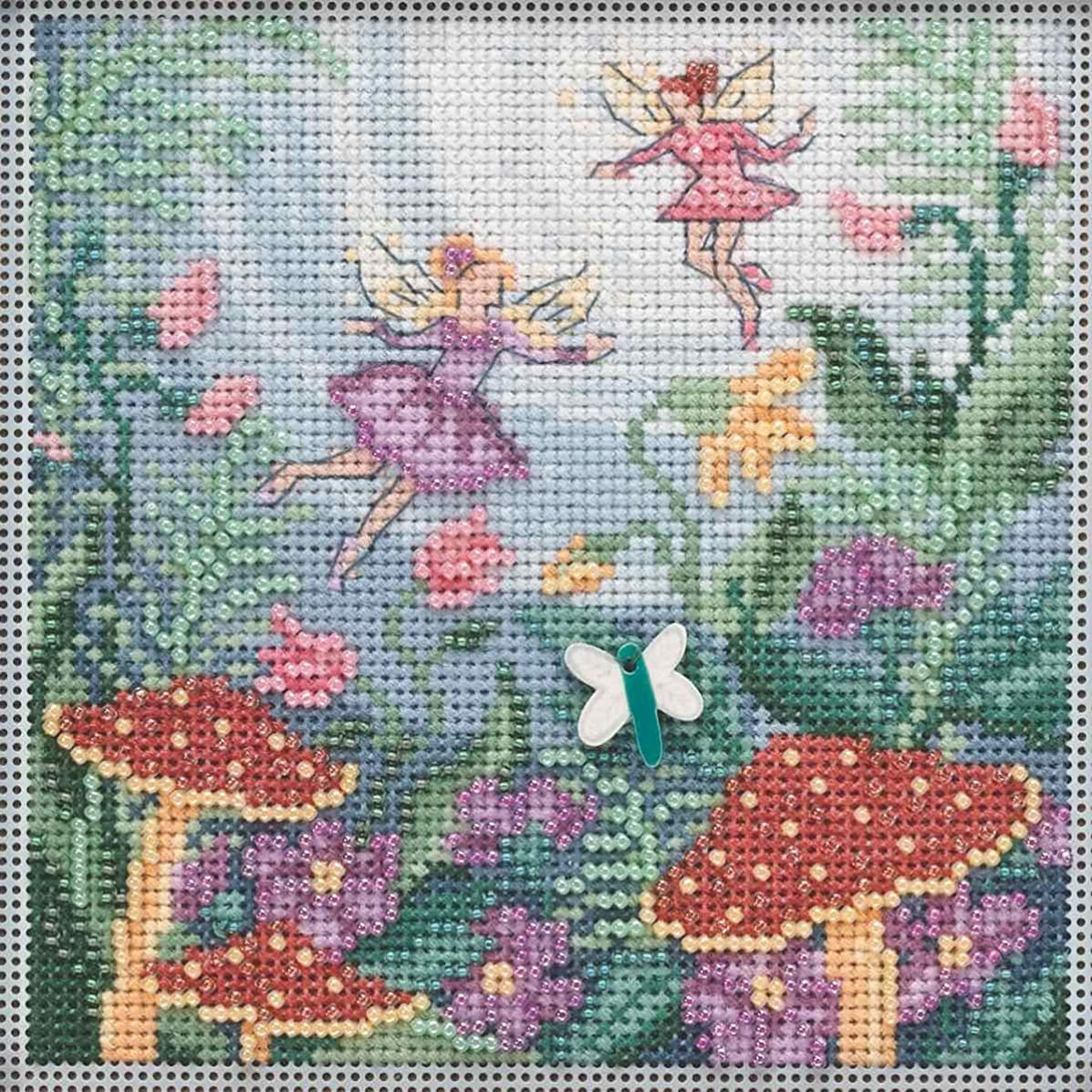 Fairy Garden Beaded Counted Cross Stitch Kit Mill Hill 2019 Buttons & Beads Autumn MH141921