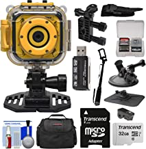 Precision Design K1 Kids HD Action Camera Camcorder (Yellow/Black) with Helmet, Handlebar Bike, Suction Cup & Dashboard Mounts + 32GB Card + Case + Kit