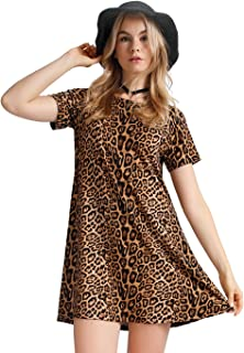 OEUVRE Women s Leopard Tunic Dress Shift Jersey Party Street Style 9d8b0f8a6