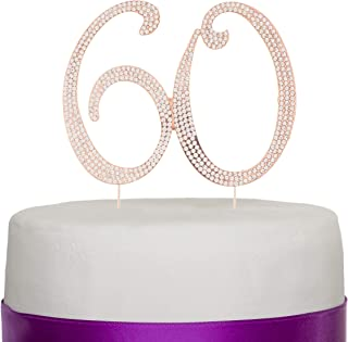 Ella Celebration 60 Cake Topper for 60th Birthday or Anniversary Rose Gold Rhinestone Party Supplies & Decoration Ideas (Rose Gold)