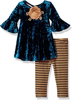 Baby Girls Dressy Legging Set, Teal, 6-9 Months